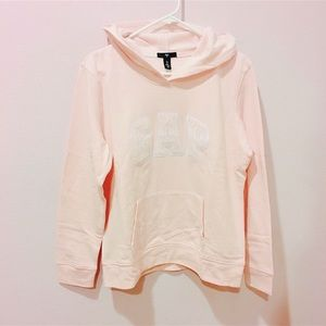 Gap light pink logo embroidered hoodie sweat top