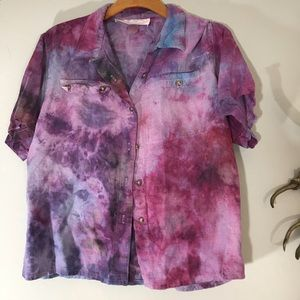 Vintage Linen Tye Dyed Shirt One of a Kind