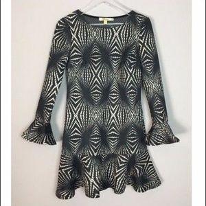 Aryeh Polyester Long Sleeve Peplum Top Mini Dress