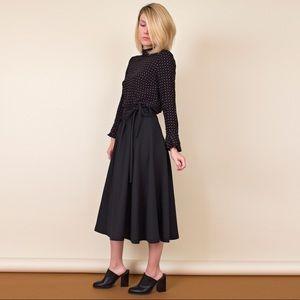 Vintage 70s black minimalist pleated skirt
