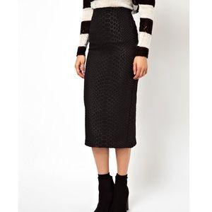 ASOS black high waisted animal print pencil skirt
