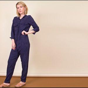 Vintage 90s blue minimalist coveralls jumpsuit