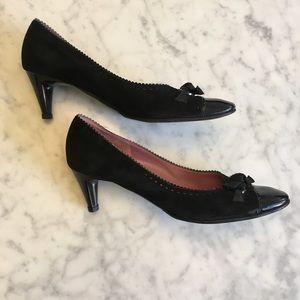 Ferragamo Suede & Patent Leather Kitten Heels, 10