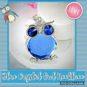NWT Blue Owl Crystal Pendant Necklace💙