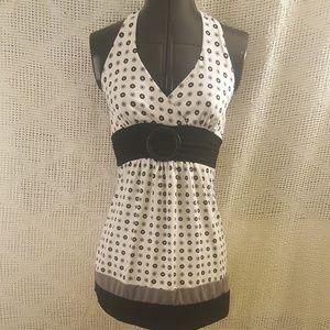 Sexy Halter White Dress Grey Black Dots