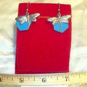 Handmade dragonfly Earrings silver hooks