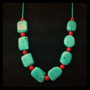 Turquoise stone with red coral stone necklace