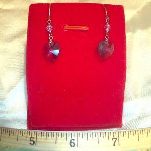 Handmade purple Chrystal Earrings silver hooks