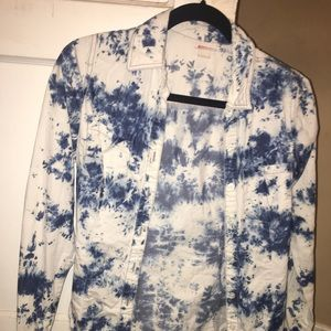 Blue and White Cover Button up Top