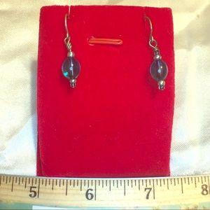 Handmade blue glass bead Earrings silver hooks