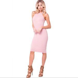 Solid Blush Midi Dress