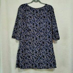 Old Navy S Black Blue Floral 3/4 Sleeve Dress