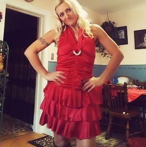 Bright red sexy halter dress
