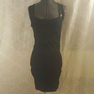 Striped Little Black Dress Mesh Top/Back Straps