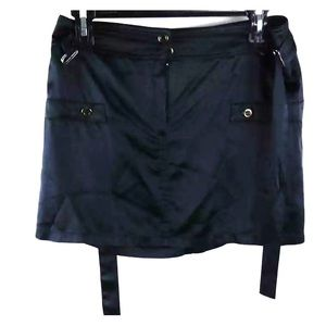 MNG Navy Blue Silk Belted Zipper-Fly Mini Skirt