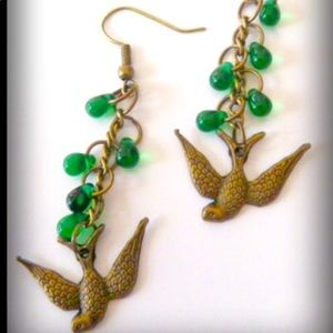 Handcrafted Bird Earrings W Czech Glass Drops new
