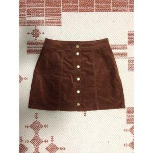 NWOT Brandy Melville Brown Velvet Buttondown Skirt