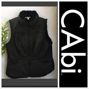 Cabi Black faux fur lined reversible vest Large