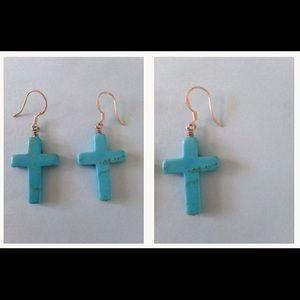 Turquoise Dangle Cross Earring