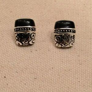 Silvertone & Black Enamel Earrings.