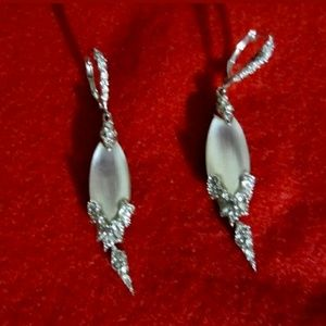 Alexis Bittar Silver Lucite and Crystal Earrings