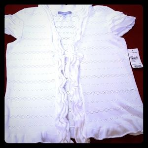 Price reduction. Ruffled tie front top.