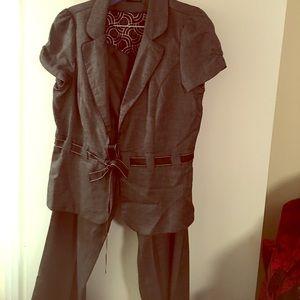 Birds eye short sleeve suit & pants set