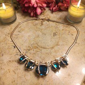 Crystal Chain Chocker Statement Blue Necklace