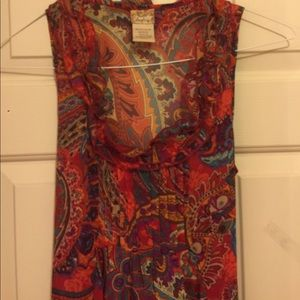 Daytrip Paisley Ruffled Red Blouse