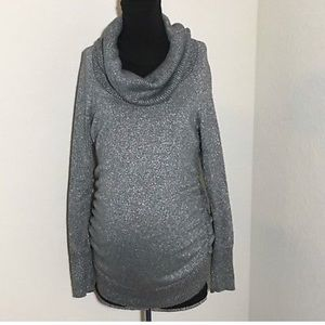 Motherhood Maternity Sweater Cowlneck Silver M