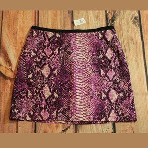 Ann Taylor Loft Purple Snakeskin Print Skirt Sz 8