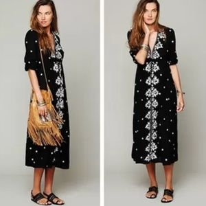 Free People Embroidered V Maxi Dress floral black