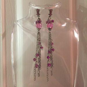 Pink Rhinestone & Beaded Dangle Earrings