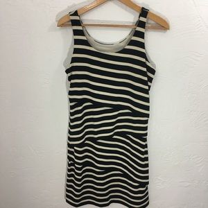Loft black and cream sleeveless dress.