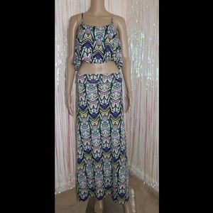 Colorful Tribal Maxi Skirt Set 543