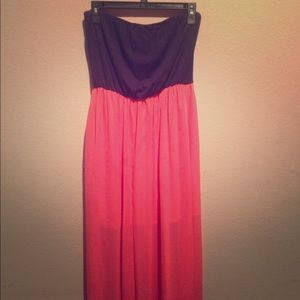 Navy Blue and Coral Maxi Dress Strapless