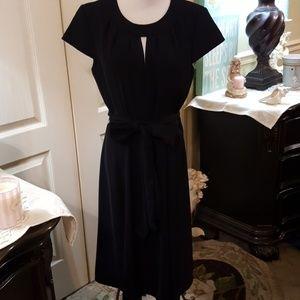 NWT. Tahari Little Black Dress W/Keyhole. Size 8.