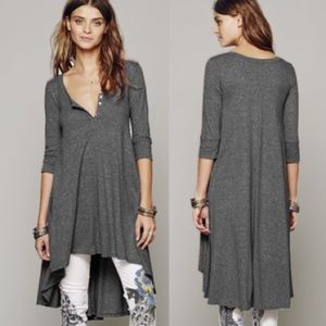 Marled Jersey DRESS High-Low Drippy Tunic Tee