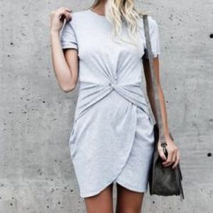 Grey knot dress, short sleeved