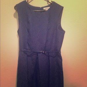 Liz Claiborne Navy Blue Mid Length Dress with Belt