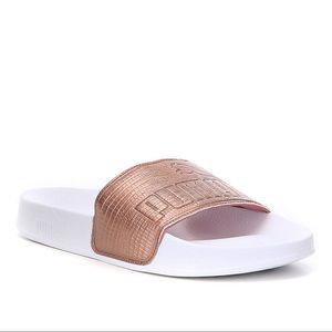 Puma copper rose/ white leadcat slide sandal