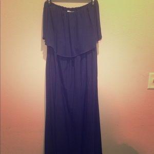 Floor Length Maxi Navy Blue Strapless Dress