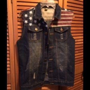Fashion Classic Patriotic Denim Vest