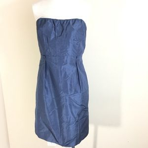 J. Crew Dress Strapless Blue Silk Pleated Formal