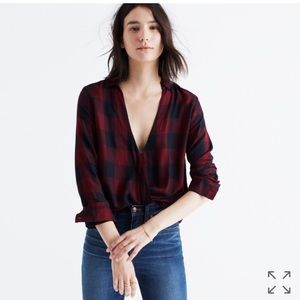 Madewell wrap-front shirt in buffalo check size XL
