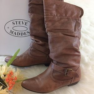 Steve Madden Leather P-Kambyy Brown Boots