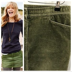 Army Green Stretch Corduroy Skirt