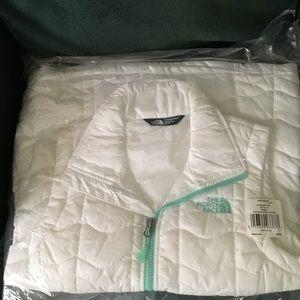 North Face Vest XS White & Mint Zipper Brand New