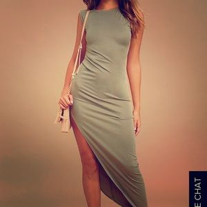Green dress with sexy slit