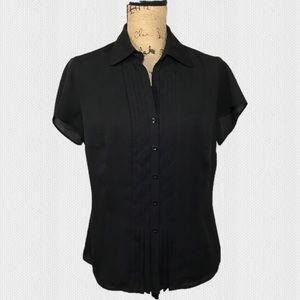 JONES NEW YORK Tuxedo Pleat Button Down SS Blouse